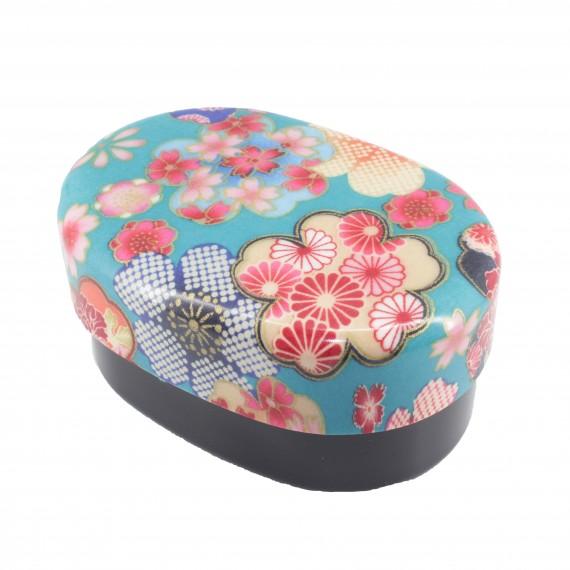 Bento ovale motif fleur bleu 415ml - mon panier d'asie