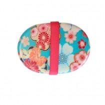 Bento ovale motif fleur bleu 415ml