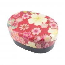 Bento ovale motif fleur rouge 415ml