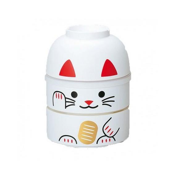 Bento 2 étages Motif chat blanc 500+350ml