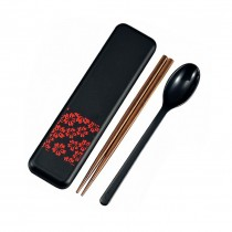 set de couvert motif sakura rouge (cuillère + bagguette + boîtier)
