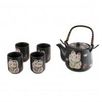 Coffret service à thé motif chat porte-bonheur - mon panier d'asie
