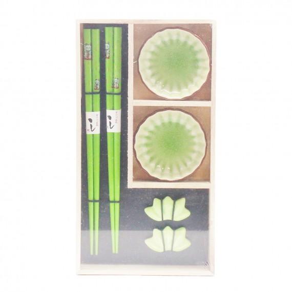 Kit vert (Baguettes/Pose/Soucoupe) pour 2 personnes - mon panier d'asie
