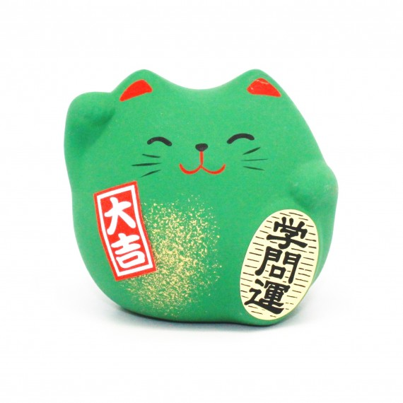 Porte-bonheur Chat vert - mon panier d'asie