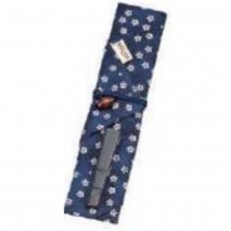 Capuchon pour baguettes & tissu bleu 21*3,4cm