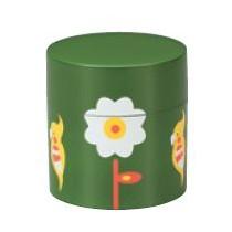 Boite a the rond vert motif fleur 87x90mm(350ml)