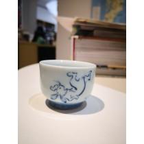 bouteille + 2 tasses à saké motif singe-grenouille-lapin
