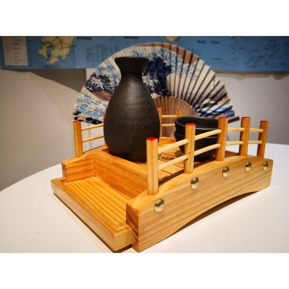 Bouteilles à saké tokkuri bizen noire + 2 tasses à saké 50cc