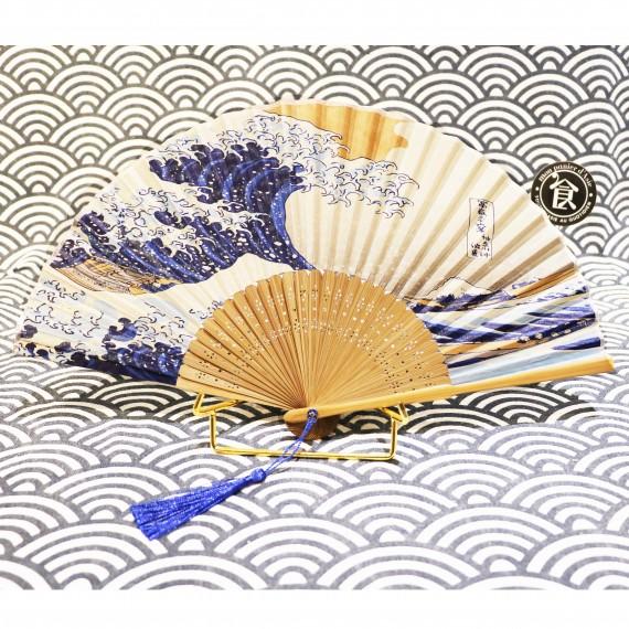 Éventail avec dessin vagues - mon panier d'asie