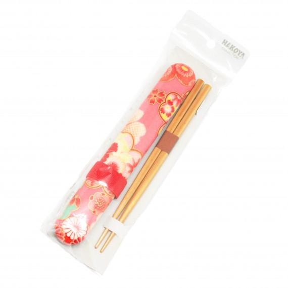Baguettes avec etui motif fleurs roses - mon panier d'asie