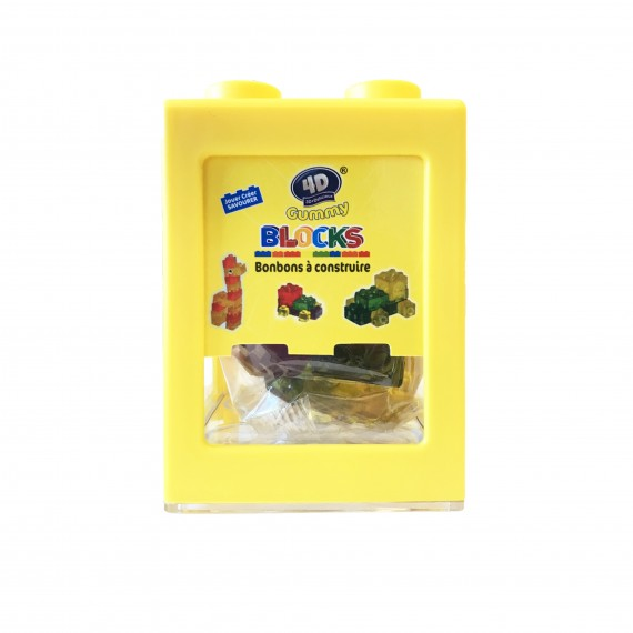 Boîte Jaune De Gummy Bonbons À Construire 3D+Délicieux 80g
