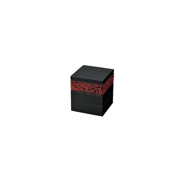 Bento 3 étages motif sakura rouge 2280ml 54763-4